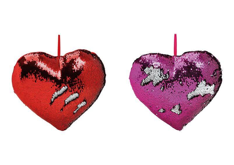 Cushion heartshape sequined, colourchange, textile, 2 assorted, (W/H/D) 35x10x35cm