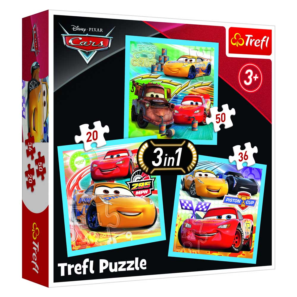 Puzzle 3 u 1 DISNEY CARS Preparations for the race