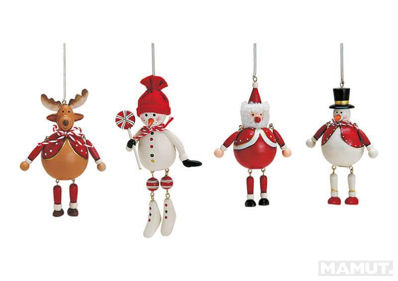 CHRISTMAS HANGER ON TREE DISPL AY WOOD 8-ASS 6-10CM