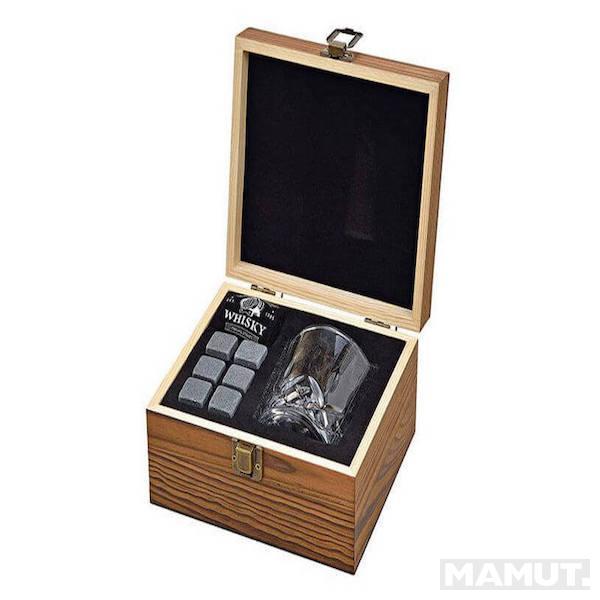6pcs.basalt stones +a 210ml glass+ a black velvet bag with one white logo+a wodden box